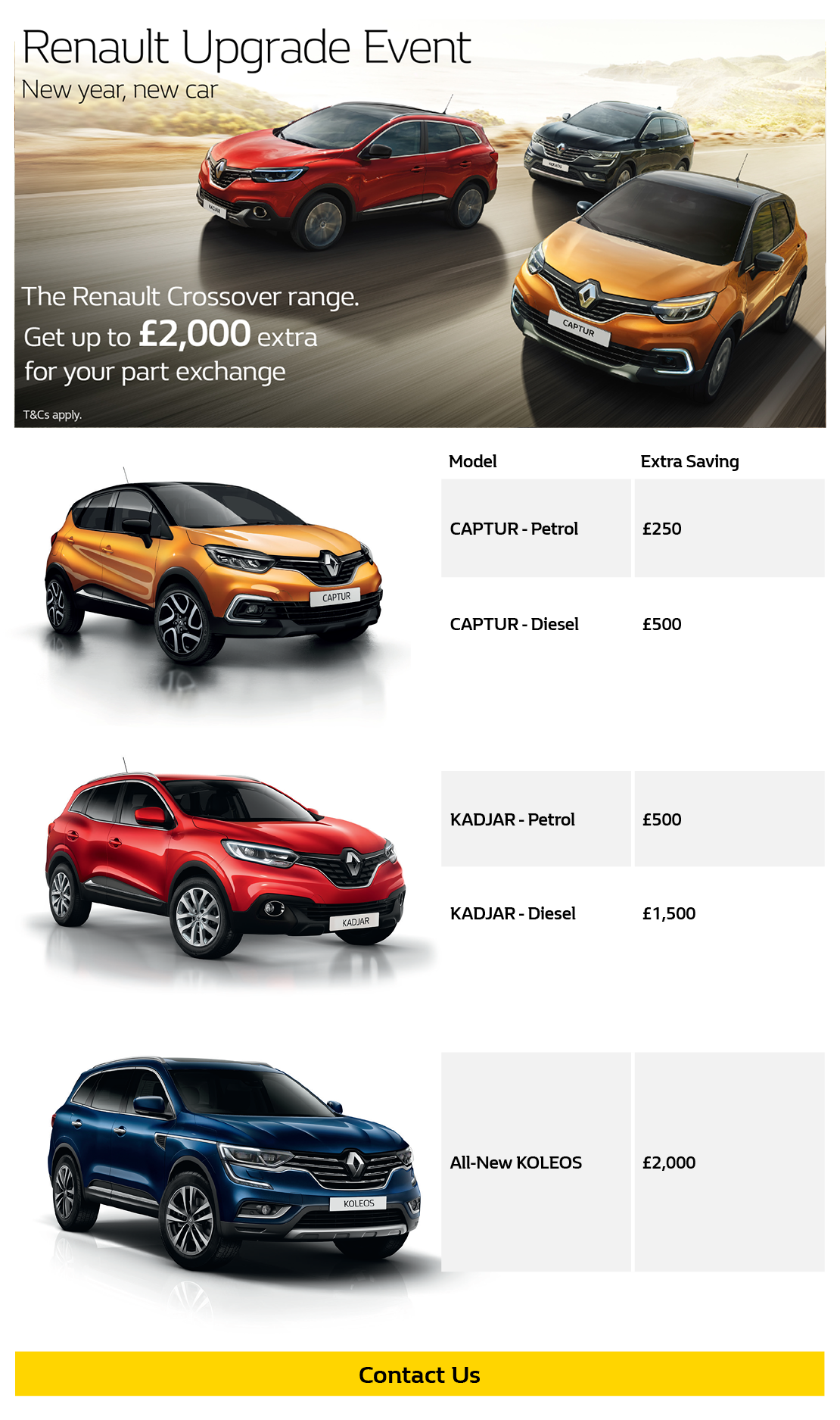 Renault Upgrade Event - Get up to £2,000 for your part exchange*